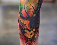 The Joker Watercolor Tattoo