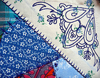 "Embroidered queen size quilt ""Frozen"""
