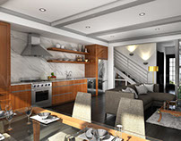 Beautifully Bold 3D Interior Kitchen Design View
