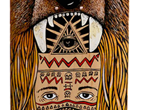 """Que oso"" skateboard paint by hand"