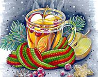 Christmas & New Year hand drawn postcards