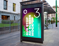 Milan Bus Stop Advertising Screen Mock-Ups 8 (v1)