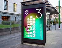 Milan Bus Stop Advertising Screen Mock-Ups 8 (v1)