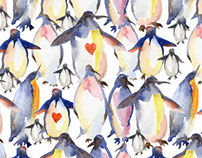Seamless pattern with watercolor penguins on white back