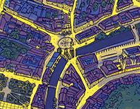 Ljubljana at night - a handrawn map