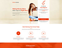 Online Income Squeeze Page Template With Free Landing P