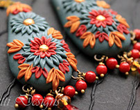 Fine embroidary earrings - made with Polymer clay