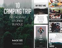 10 FREE CAMPING TRIP INSTAGRAM STORIES BUNDLE IN PSD