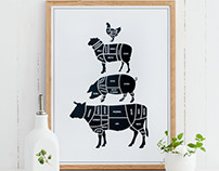 Scandinavian kitchen prints