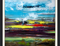 Acrylic on canvas abstract landscape painting