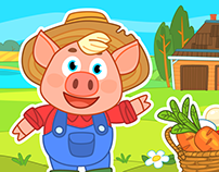 Game art and GUI for Farm for kids mobile game