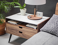 Rina Walnut and Marble Nightstand Bedside Table