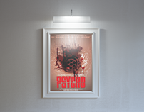 Poster Psycho Film and creative Hitchcock's Tile.