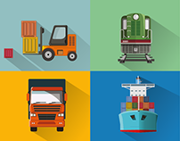 Transport. Flat Vector Illustrations.