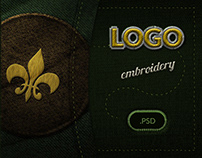Embroidered Logo PSD Template Mockup