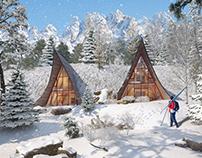 Chalets in winter