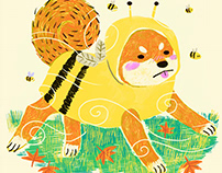 A Shiba Inu Among the Bees