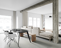 Concrete Column Modern Apartment CGI