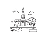 High Point University Line Illustrations