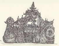 Ballpen Drawings from trip to Myanmar