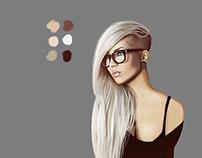 Inked girl illustration process