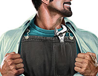 Illustration of superman mechanic for Castrol
