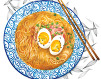 Watercolour Food Illustration - Ramen