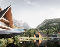 3D Rendering for a Hotel Complex in the Mountains