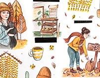 Autumn Watercolor Illustrations