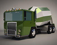 Low Poly Concrete Mixer Truck