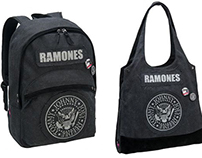 Backpack, tote bag and case of Ramones