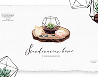 Scandinavian Home collection, watercolor plants and cry