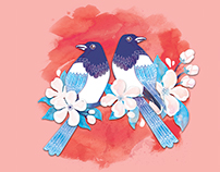 Love Birds – Postcard Illustration