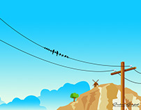 Electricity Pole Birds : Illustration #2