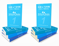 129 x 198mm Softcover Book Stack Mockup (PS Action)
