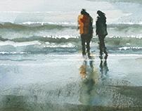 beneath turbulent skies - watercolour