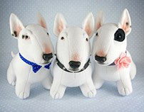 Bull Terriers, OOAK soft art toys