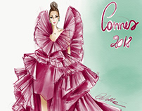 Illustration of Ashi Studio gown at Cannes