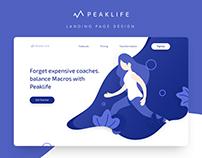 Peaklife Landing page