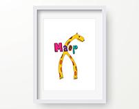 Mr. Maop Giraffe. Illustration.