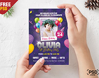 5×7 Birthday Party Invitation Card PSD