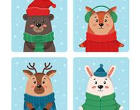 Cute winter animals - vector illustration