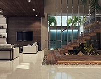 modern hall with dining