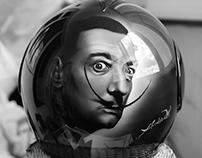 Airbrush on helmet 'Salvador Dali'