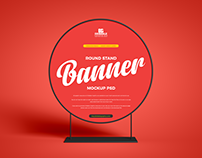 Free Round Stand Banner Mockup