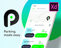 Parking App with free Adobe XD template