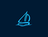 Blue Boat Logo Template