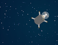 HTML/SCSS Animation Cow Drifting Away Into Outer Space