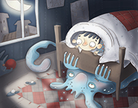 Monster under the bed. Illustration for the competition