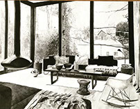 Hand drawing of interior - student work